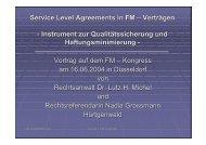 Service Level Agreements in FM – Verträgen ... - dr. lutz h. michel