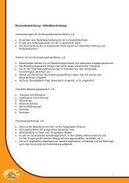 Voraussetzungen für ein Personalauswahlverfahren, z.B. Kriterien ...