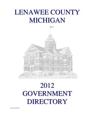 LENAWEE COUNTY MICHIGAN 2012 GOVERNMENT DIRECTORY