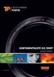 SORTIMENTSLISTE 03/2009 - Tecco
