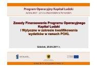 Zasady Finansowania Programu Operacyjnego Kapitał Ludzki i ...