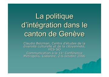 La politique d'intégration dans le canton de Genève