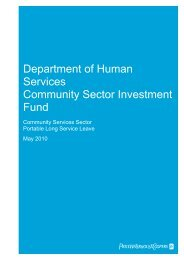 Department of Human Services Community Sector Investment Fund