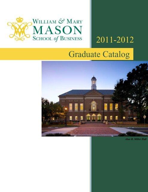 Graduate Catalog - Mason School of Business