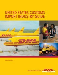UNITED STATES CUSTOMS IMPORT INDUSTRY GUIDE - DHL
