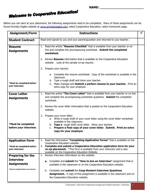 Pre Employment Assignment Outline Septemberpdf