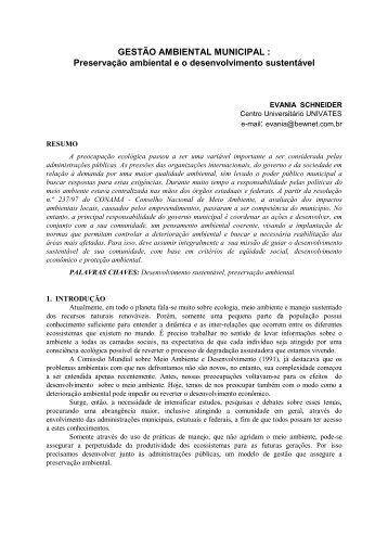 GESTÃO AMBIENTAL MUNICIPAL : Preservação ... - SEaD da UFSC