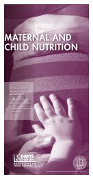 Maternal and Child nutrition - UC Davis Extension