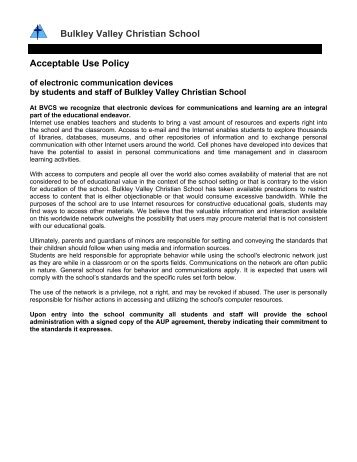 Acceptable Use Policy - Bulkley Valley Christian School