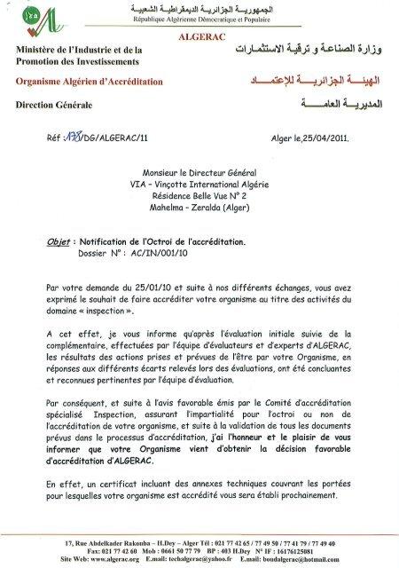 Lettre D Accreditation En Inspection 17020 D Algerac