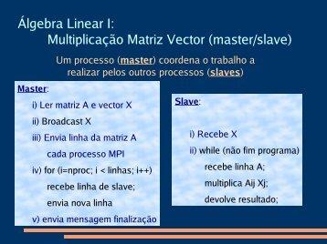 Álgebra Linear I: Multiplicação Matriz Vector (master/slave) - Nautilus