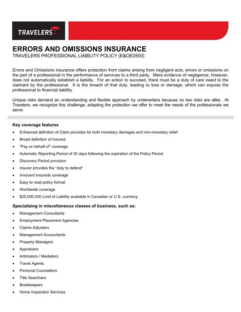 Errors And Omissions Insurance Travelers Canada