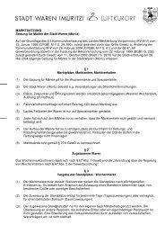 MARKTSATZUNG Satzung für Märkte der Stadt Waren (Müritz) Auf ...
