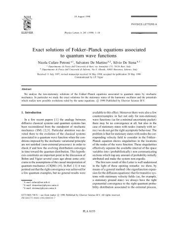 Exact solutions of Fokker1Planck equations ... - ResearchGate