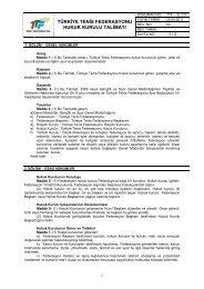 TTF Hukuk Kurulu Talimatı - türkiye tenis federasyonu
