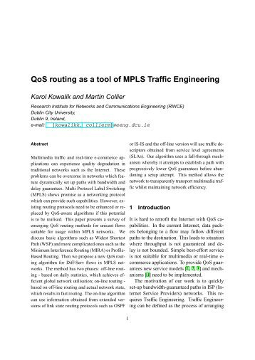 QoS routing as a tool of MPLS Traffic Engineering - CiteSeerX