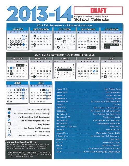 draft of the mesquite isd 2013 14 school year calendar