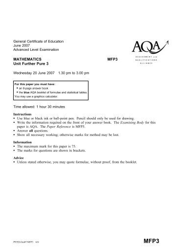 Further Pure 3: Question paper - Gosford Hill School