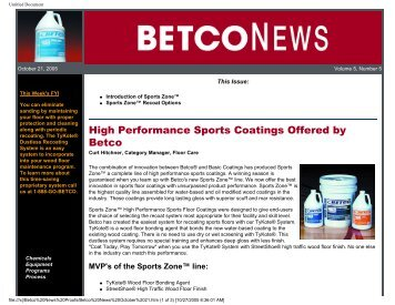 Betco News October 21, 2005 - Betco Corporation