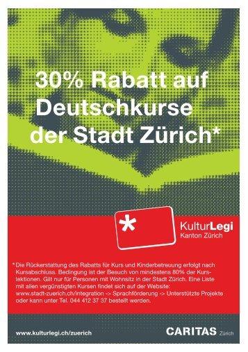 KulturLegi: 30% Rabatt auf Deutschkurse der Stadt Zürich
