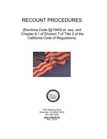 RECOUNT PROCEDURES - Riverside County Registrar of Voters