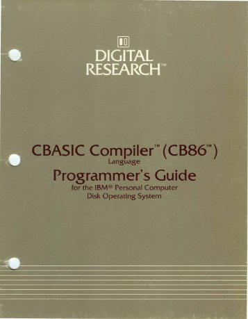 CBASIC Compiler CB86 Programmers Guide May83 - Bitsavers