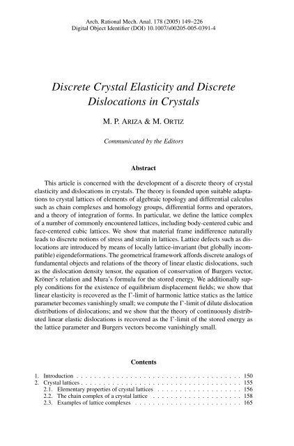 Discrete Crystal Elasticity and Discrete Dislocations in Crystals