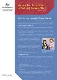 Values for Australian Schooling Newsletter Vol.4 - Values Education