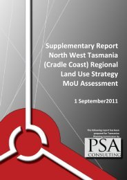 PSA Consulting North West Tasmania Regional Land Use Strategy ...
