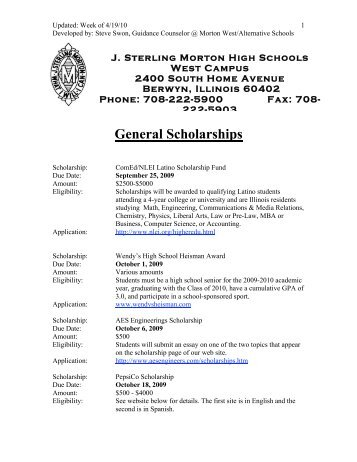 GENERAL SCHOLARSHIPS In Alphabetical Order A Patrick