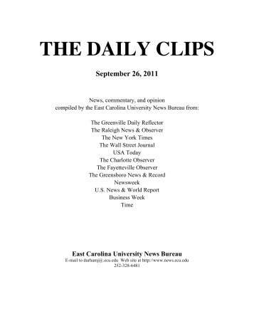 DAILY CLIPS COVER - East Carolina University