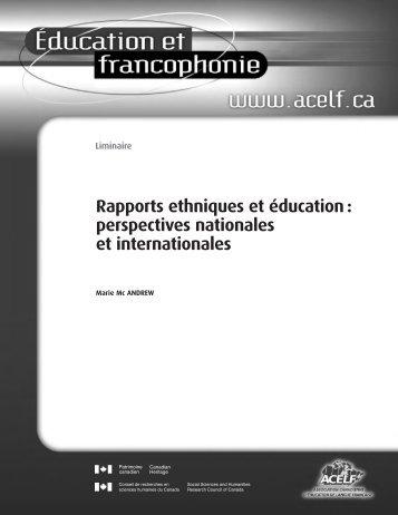 Éducation et francophonie, vol. XXXVI, n o 1, printemps 2008 - acelf