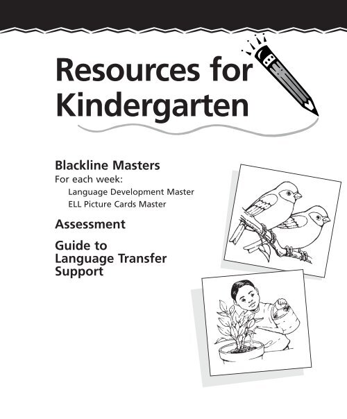 Resources For Kindergarten Blackline Masters