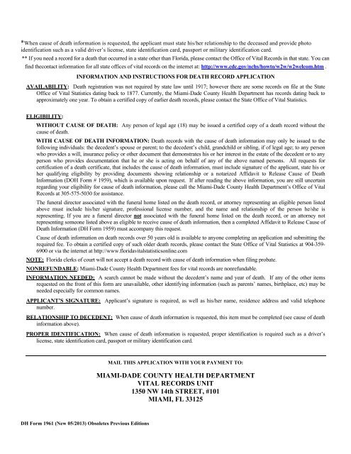 miami-dade county health department vital records