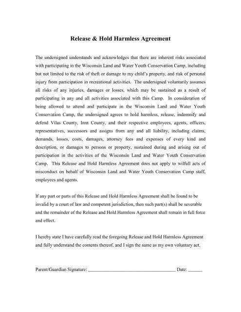 Release & Hold Harmless Agreement