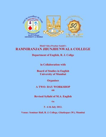 RAMNIRANJAN JHUNJHUNWALA COLLEGE Department of ...