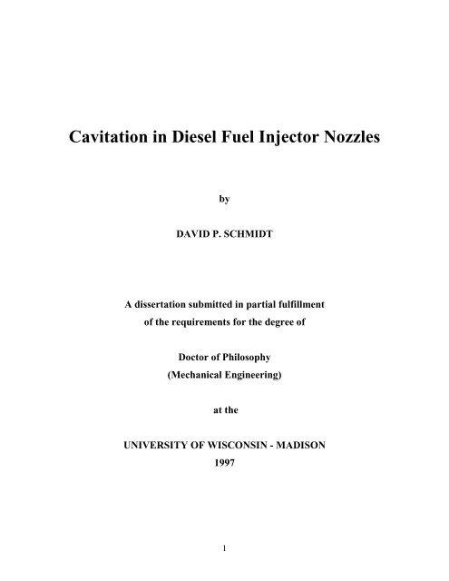 Cavitation In Diesel Fuel Injector Nozzles
