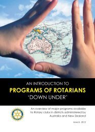 PROGRAMS OF ROTARIANS - Rotary Down Under