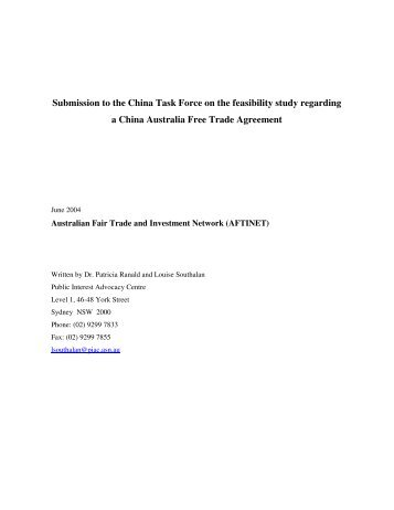 Australia China Free Trade Agreement Joint Feasibility Study