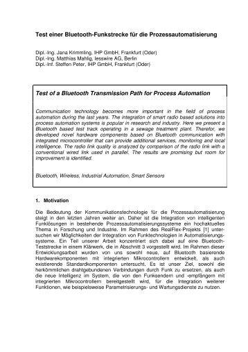 Test einer Bluetooth-Funkstrecke für die Prozessautomatisierung