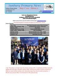 Newsletter No 12 May 2 2013 - Sunbury Primary School