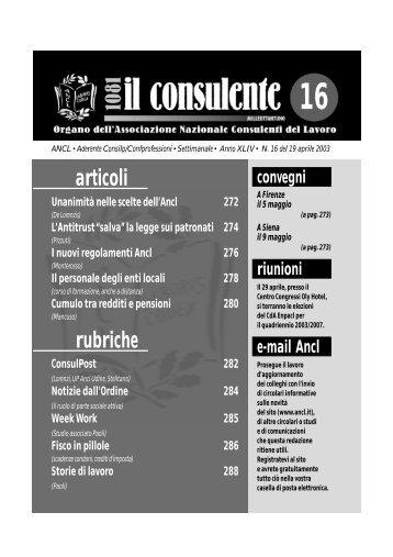 N. 16 del 19 aprile 2003 282 il consulente 1081 - Ancl