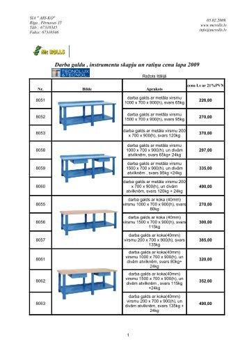 Darba galdu , instrumentu skapju un ratiņu cenu lapa 2009 - MC Rolls