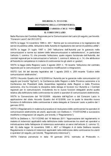 DELIBERA N. 53/13/CRL DEFINIZIONE DELLA ... - Corecom Lazio