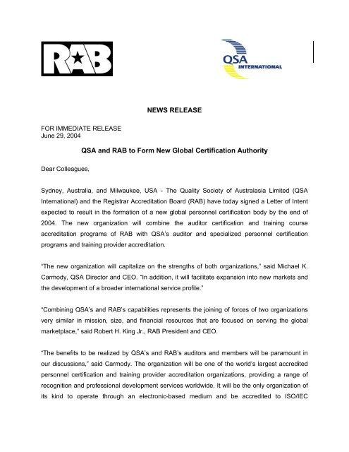 News Release - Merger Announcement - rabqsa