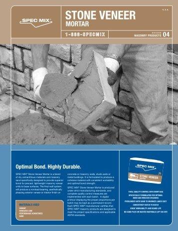 Spec Mix Stone Veneer Mortar Data Sheet - Asdco