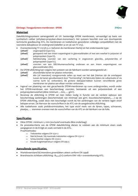 Materiaal Specificaties Aanvullende specificaties