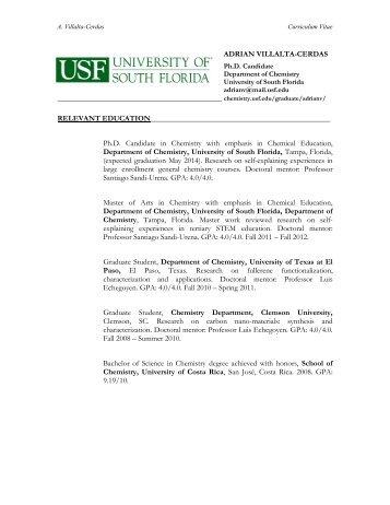 Curriculum Vitae Chemistry University Of South Florida