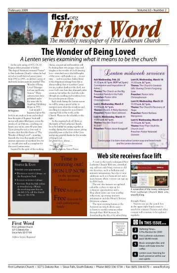The Wonder of Being Loved - First Lutheran Church of Sioux Falls