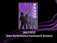 2012-2013 State Performance Framework Analysis